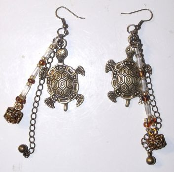 Turtle Charm Earrings by mintdawn