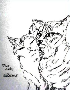 Two cats by LynxieBoo