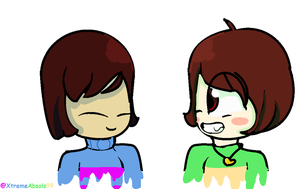 Chara and Frisk by XtrememeAbsols99