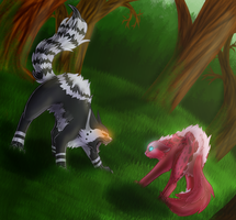 Swiftclaw and Rosethorn by Demonic-creature