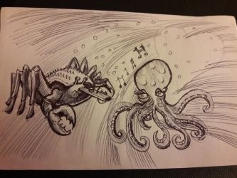 Crab Serenades Octopus with kazoo Inktober Day 16 by DoctorFantastic