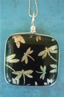 Fused Glass Dragonfly Pendant by FusedElegance