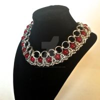 Crimson and Byzantine Chainmaille Necklace by Rosie-Periannath