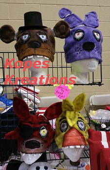 Five Nights at Freddy's hand painted hats by kopeskreations
