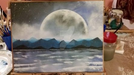 Moon Painting by Thors-Hammer77
