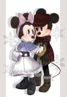 AT - Mickey and Minnie in Winter Clothes  by riukime