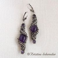 Theodora Earrings in Amethyst by Wiresculptress