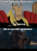 Age of Ultron: Thor and Ultron by alienhominid2000