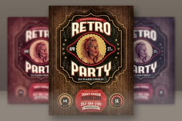 Retro Party Flyer Template by hugoo13