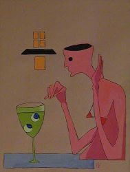 Absinthe drinking woman by Chasar
