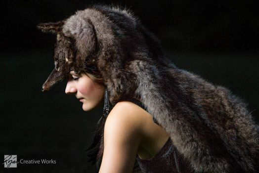 FOR SALE: Natural Black Coyote Headdress by Canis-Angst