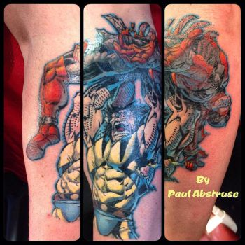 Wolverine and deadpool tattoo by paulabstruse