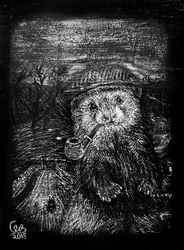 The Yorkshire Ferret, homemade Scratchboard by WizardsOf12