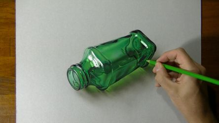 Drawing a green bottle by marcellobarenghi