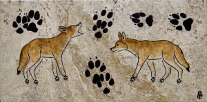 Prehistoric Style Coyote painting by RobertMeyer