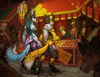 Illustration - Day at the Festival (+Video) by ArtByZephra
