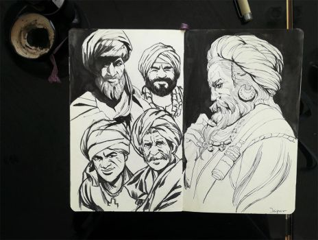 Bearded men in turban by mannequin-atelier