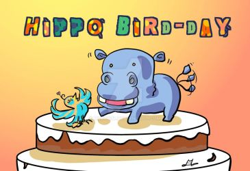 A hippo bird-day doodle for my friend by Merc007