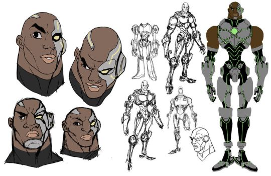 Cyborg sketches by DanNortonArt