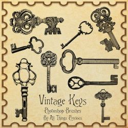 Vintage Keys Brushes by AllThingsPrecious