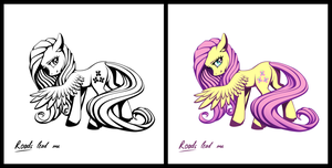Pony sticker - Fluttershy by iOVERD