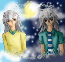 Bakura and Ryou-Night and Day by dolphinabottle