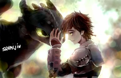 Hiccup and Toothless By Shumijin by Adverz