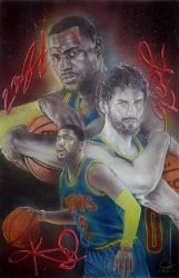Cavaliers Big 3 Painting by JohnVitaleArt