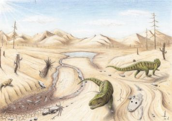 Dry season in Triassic Krasiejow by RavePaleoArt