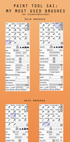 My Paint tool SAI brush settings (Most used) by CherrysDesigns
