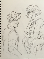 If looks could kill- Jay and Nya by star-bite13