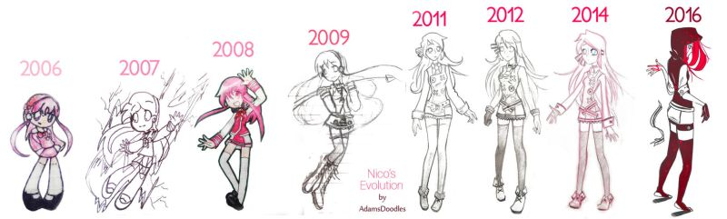 10 Years Of Character Evolution by AdamsDoodles