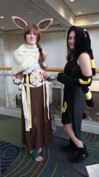 Megacon 2016 Eevee and Umbreon by kingofthedededes73