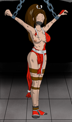 Defeated and Chained Mai Shiranui by kupoexe