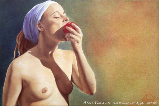 Selfportrait with Apple by AnnaGilhespy