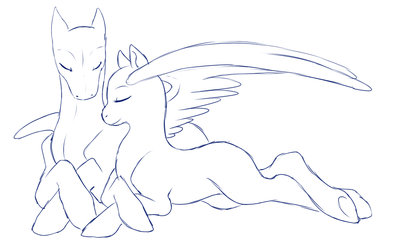Original Sketch Base - Under His Wing by Shadow-Bases