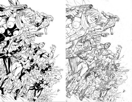 Cyborg009 pinup pencils and inks by 0boywonder0
