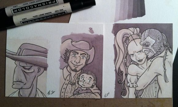 4 Outlaws and a Baby: Marker Work by TerribleToadQueen