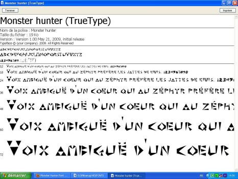 Monster Hunter Font: Type 1 and 2 by XMitsarugiX