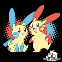 #PokeMonday - Minun + Plusle by AdriOfTheDead