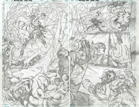 RED SONJA and THOR test page 2and 3 by PowRodrix