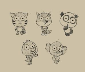 Cartoon animals (sketch) by Hitryi-Pryanik
