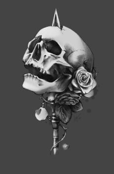 Skull and roses by Linsy96