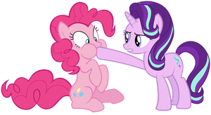 Starlight plugging Pinkie Pie's mouth by Tardifice