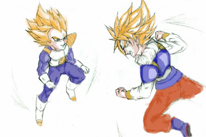 Clash of the Super Saiyans (coloring 2 by Arcane) by bringerofdeathDBZ
