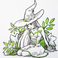 Inktober day 1 - Floral witch by ShinePawArt