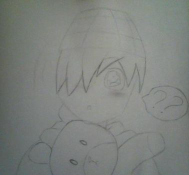 Sketch - Kayden with his new teddy by AngelSaviorBVB