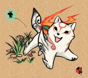 Chibi Okami with Issun by J-C