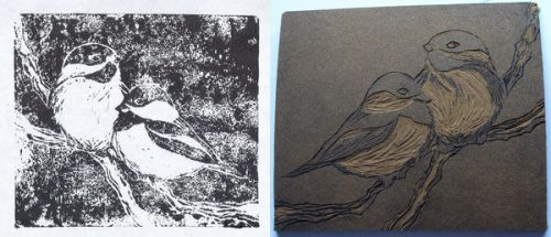 Sparrows - Lino Print by tyrowish