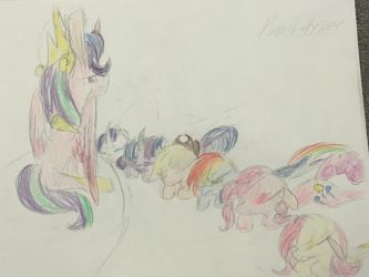 The Mane 6 Bowing to Starlight by RavenLilly2004